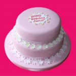 Birthday cake with pink and white icing